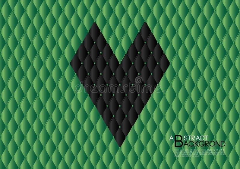 Ilustração preta do vetor do fundo do sumário do coração, disposição verde do molde de tampa, inseto do negócio, textura de couro ilustração do vetor