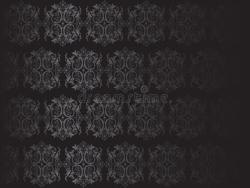 Ilustração preta luxuosa do papel de parede floral ilustração royalty free