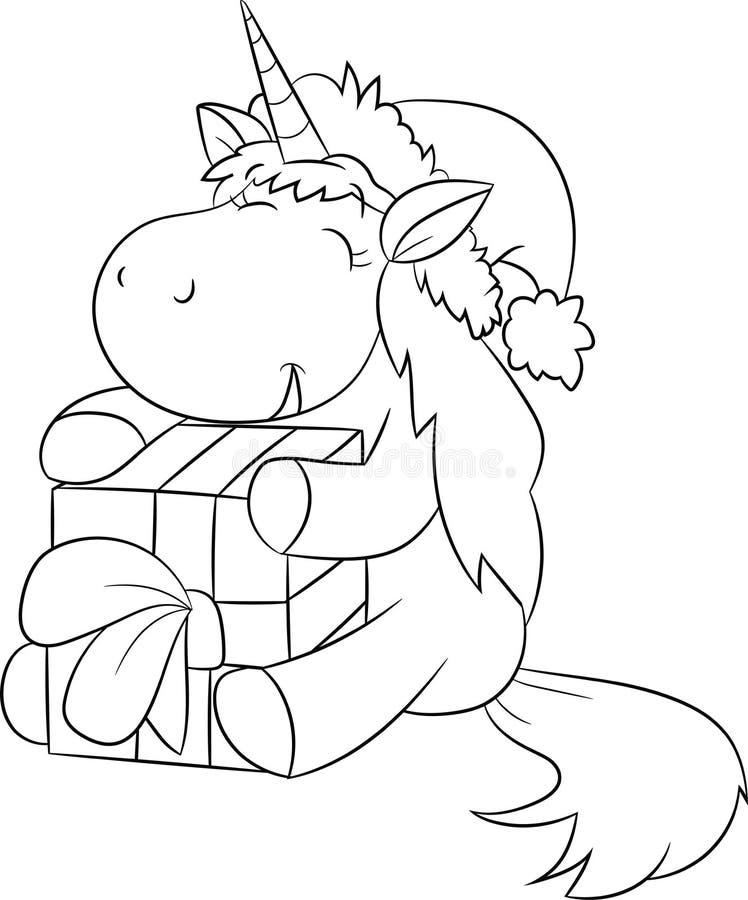 Ilustração preto e branco adorável de um unicórnio pequeno bonito que guarda e que abraça um presente, para o livro para colorir  ilustração stock