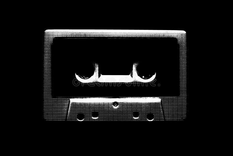 Ilustração preto e branco da cassete áudio para o projeto imagem de stock