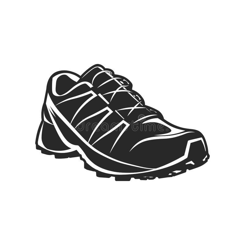 Ilustração preto e branco da sapata do esporte atlético ilustração stock