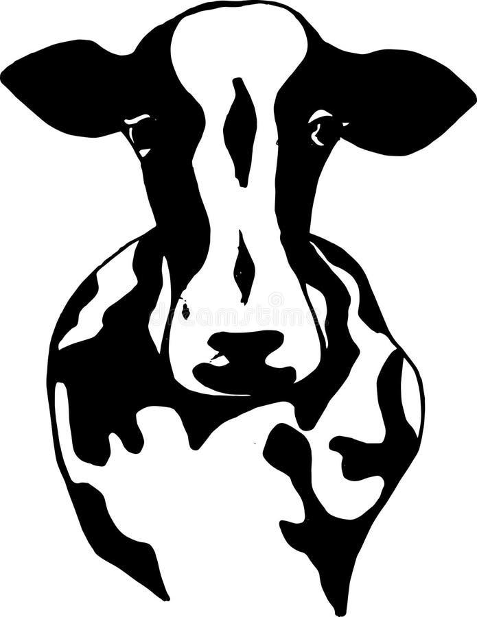 Ilustração preto e branco de um animal indiano sagrado Vaca indiana ilustração royalty free