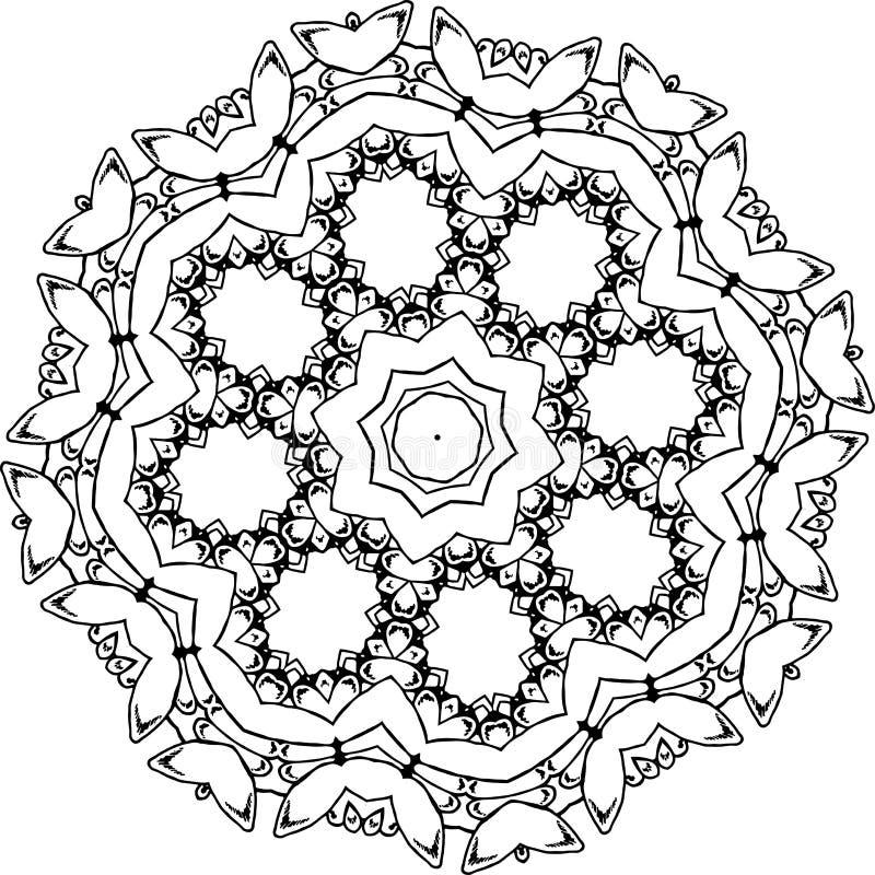 Ilustração preto e branco de uma mandala - uma flor da vida Espaço cósmico ilustração stock