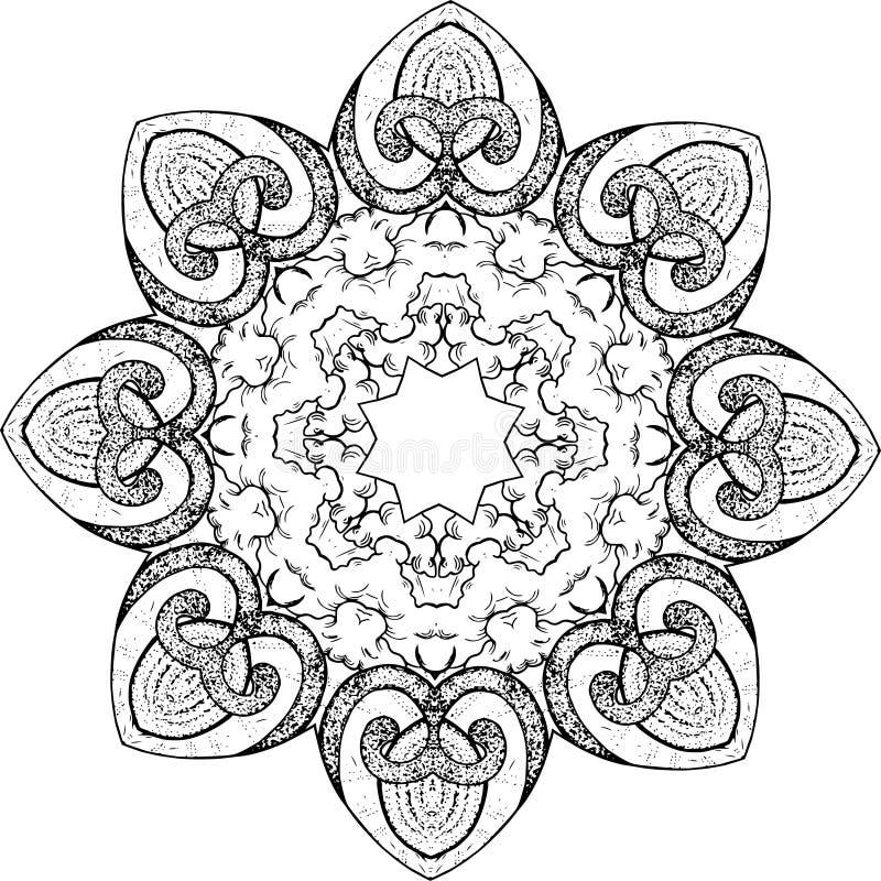 Ilustração preto e branco de uma mandala - uma flor da vida Espaço cósmico ilustração royalty free
