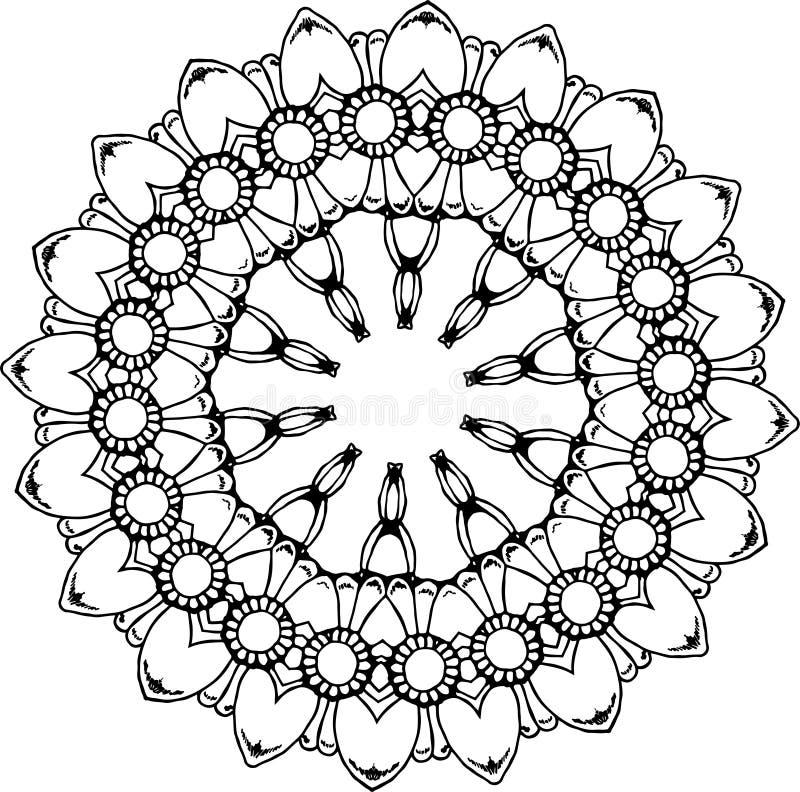 Ilustração preto e branco de uma mandala - uma flor da vida Espaço cósmico ilustração do vetor