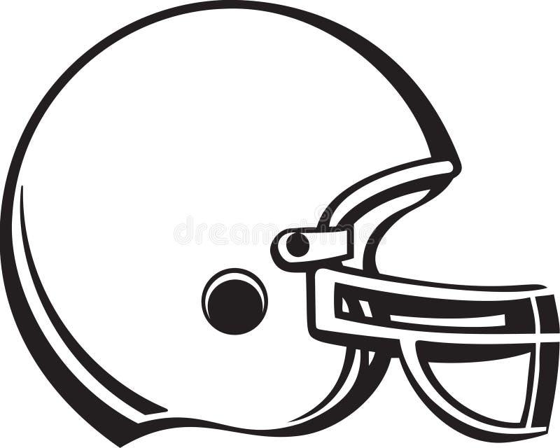Ilustração preto e branco do capacete de futebol ilustração do vetor