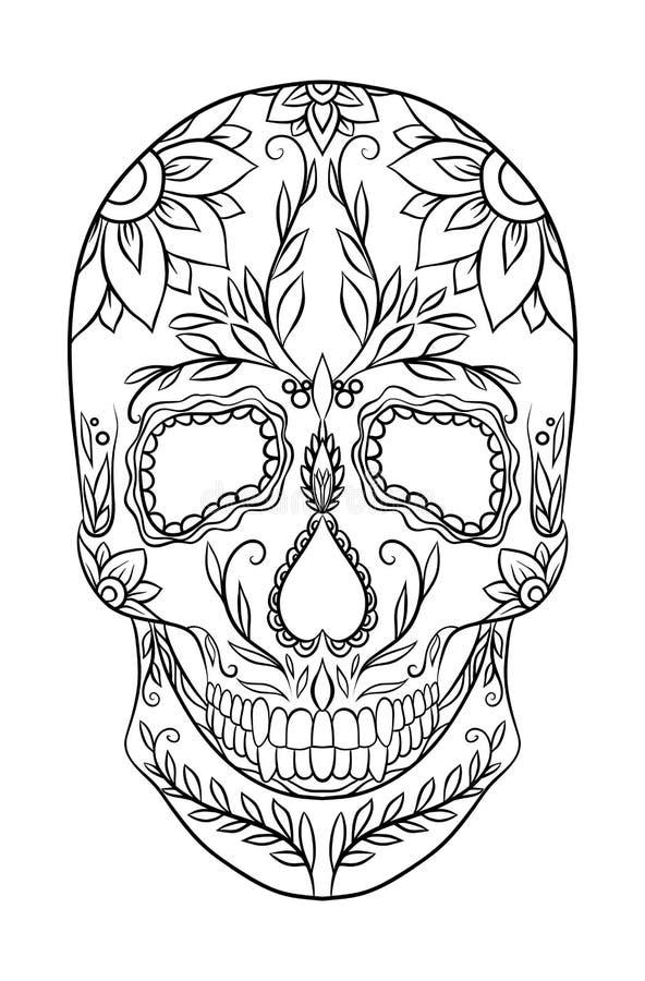 Ilustração preto e branco do contorno de um crânio do açúcar ilustração do vetor