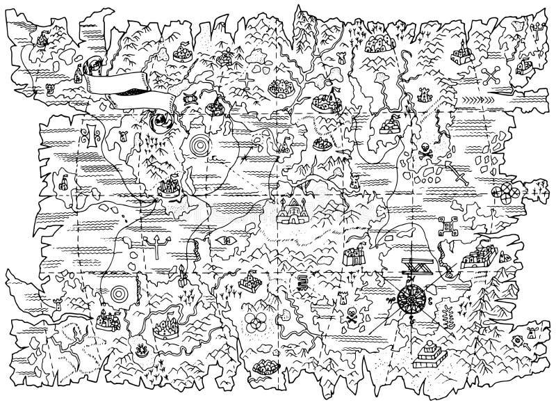 Ilustração preto e branco do mapa do pirata da terra da fantasia ilustração do vetor