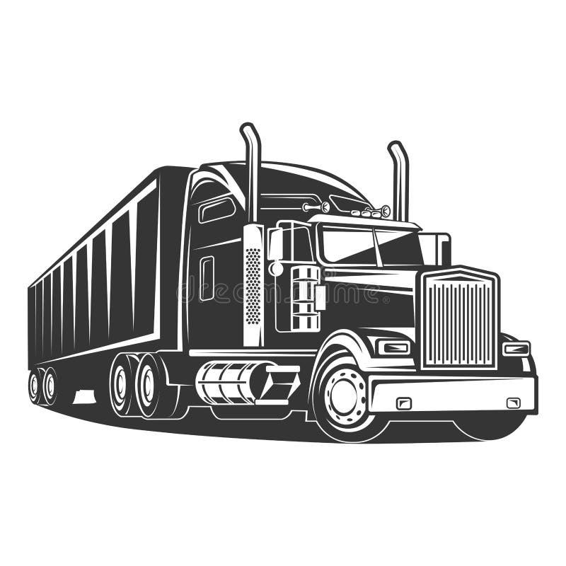Ilustração preto e branco do reboque americano do caminhão ilustração stock