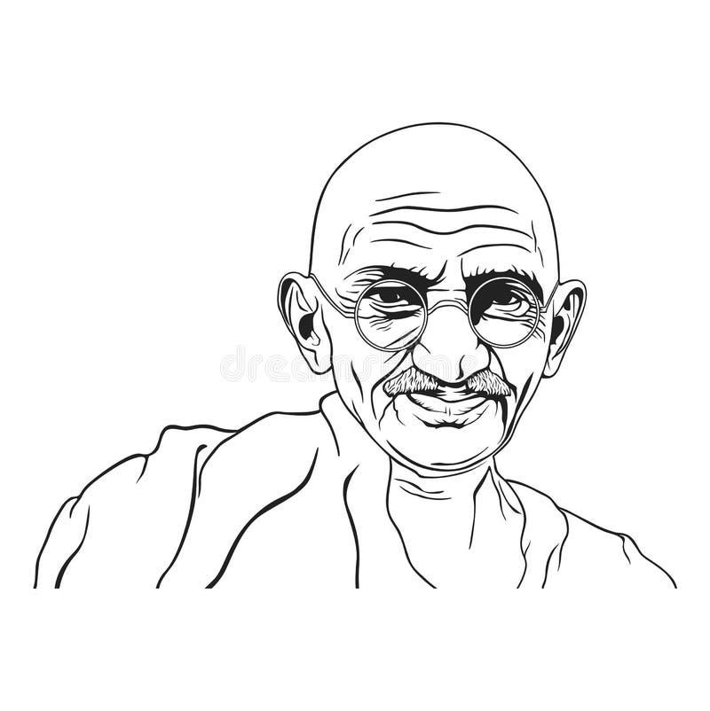 Ilustração preto e branco do retrato de Mahatma Gandhi, dia da não-violência, projeto do vetor ilustração royalty free