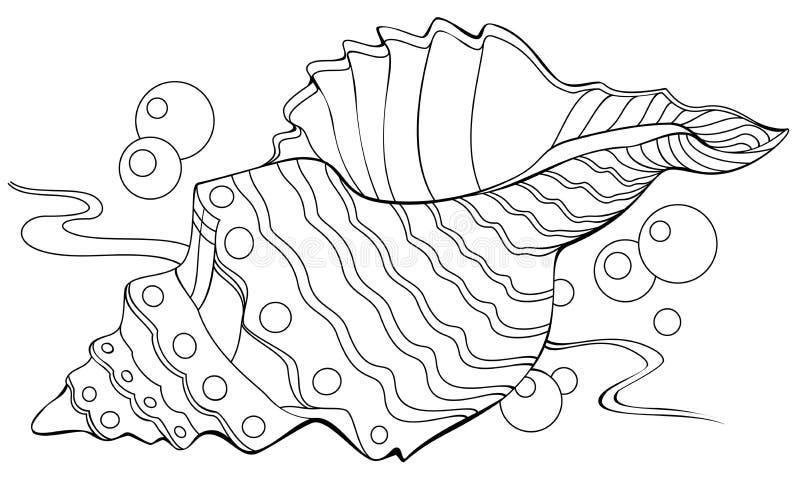 Ilustração preto e branco do shell para colorir ilustração do vetor