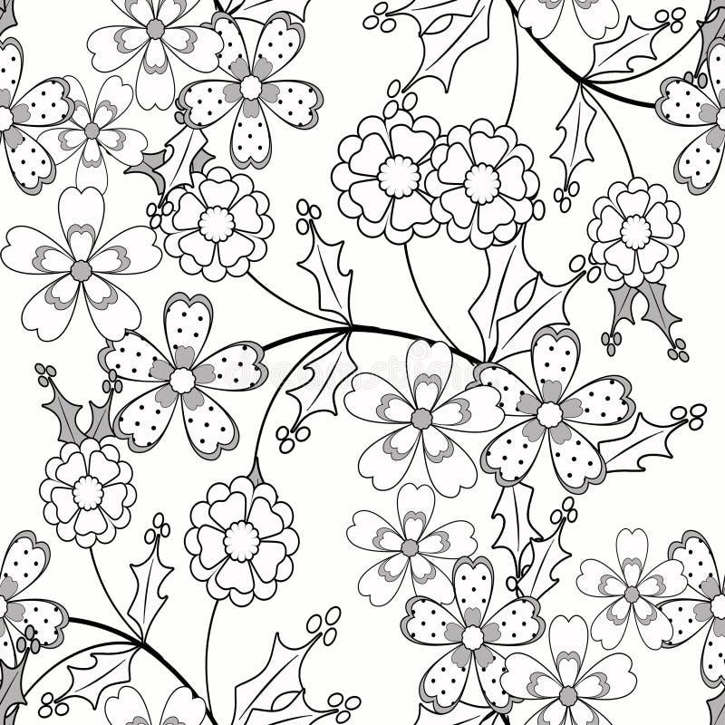 Ilustração preto e branco do teste padrão dos elementos decorativos sem emenda do livro da página da coloração foto de stock