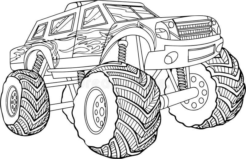 Ilustração preto e branco do vetor do carro no fundo branco foto de stock royalty free