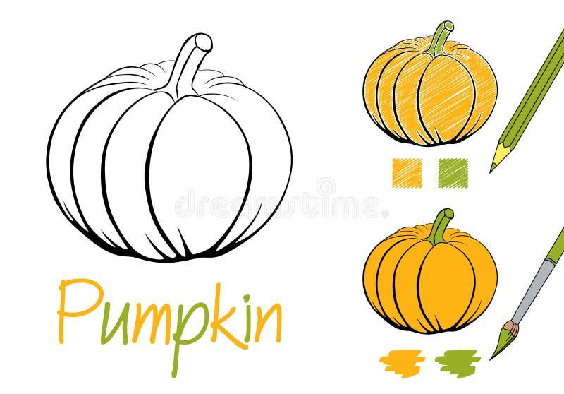 Ilustração preto e branco do vetor da abóbora simples para crianças e adultos Página da coloração para o livro Exemplos de ilustração royalty free