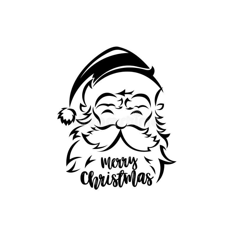 Ilustração preto e branco do vetor de Papai Noel ilustração stock