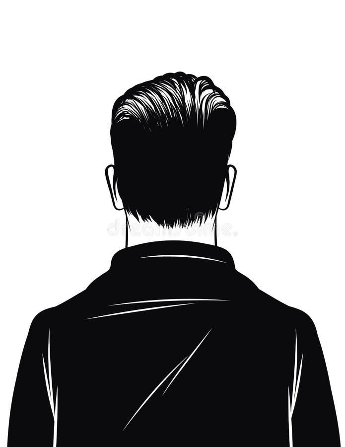Ilustração preto e branco do vetor de uma opinião traseira do homem isolada no fundo branco Silhueta de um homem Homem à moda com ilustração stock