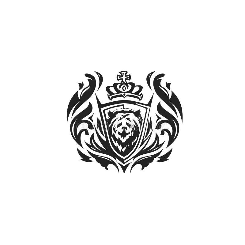Ilustração preto e branco do vetor do logotipo do urso ilustração royalty free