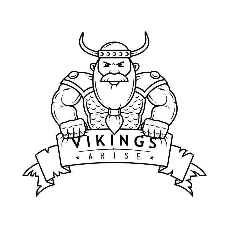 Ilustração preto e branco dos desenhos animados Viking com bandeira ilustração stock