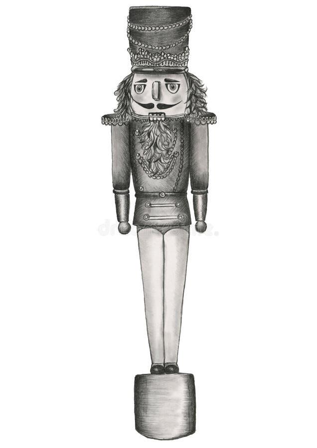 Ilustração preto e branco tirada mão do lápis da quebra-nozes que levanta-se reta ilustração royalty free