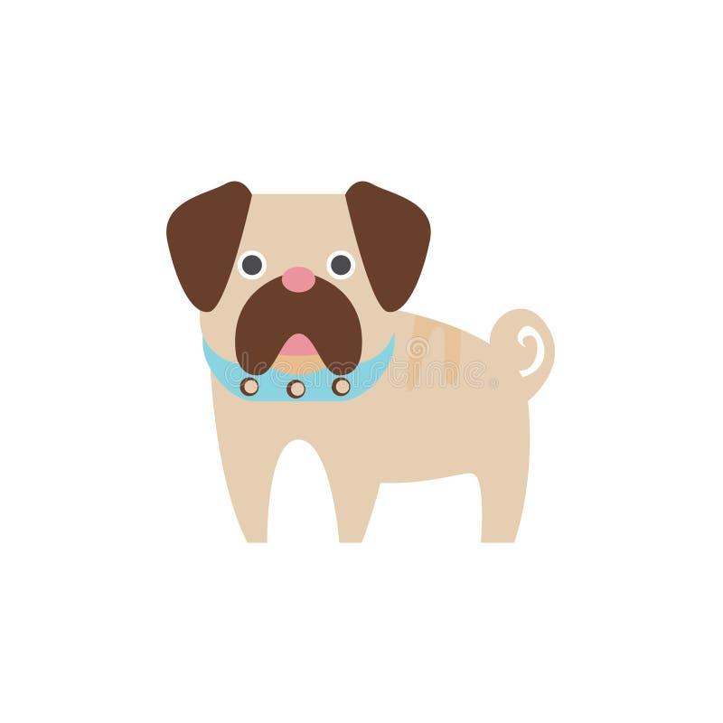Ilustração primitiva dos desenhos animados da raça do cão do Pug ilustração stock