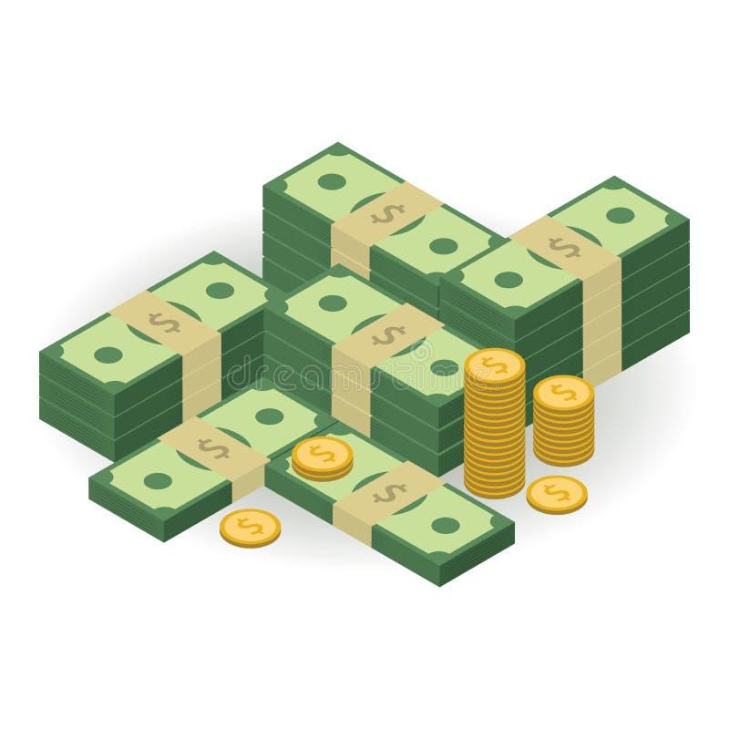 Ilustração principal Dinheiro de Ðœuch Vista isométrica Elemento para sua apresentação do negócio ilustração stock