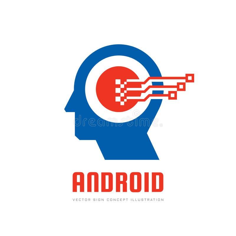 Ilustração principal humana digital do conceito do logotipo do vetor de Android Sinal criativo da ideia Aprendendo o ícone Chip d ilustração stock