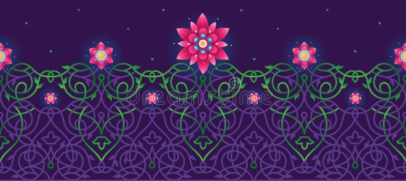 Ilustração psicadélico, beira sem emenda floral ilustração royalty free
