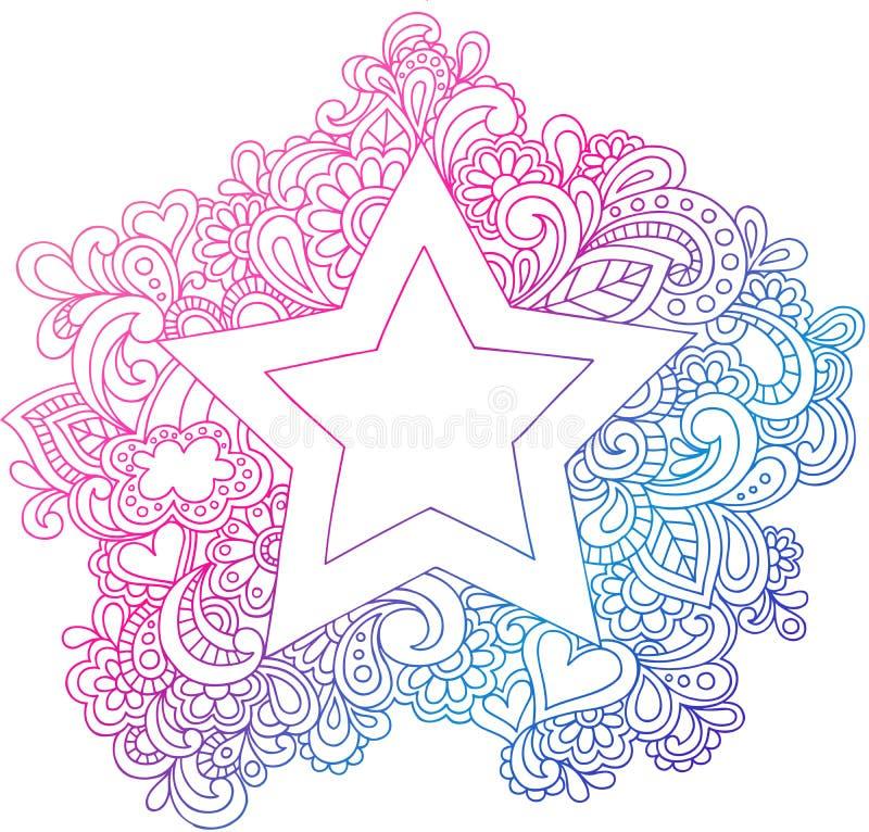 Ilustração psicadélico do vetor da estrela do esboço ilustração stock