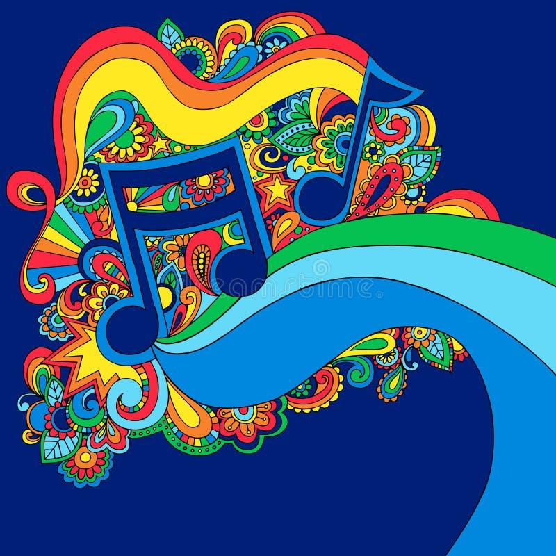 Ilustração psicadélico do vetor da nota da música ilustração stock