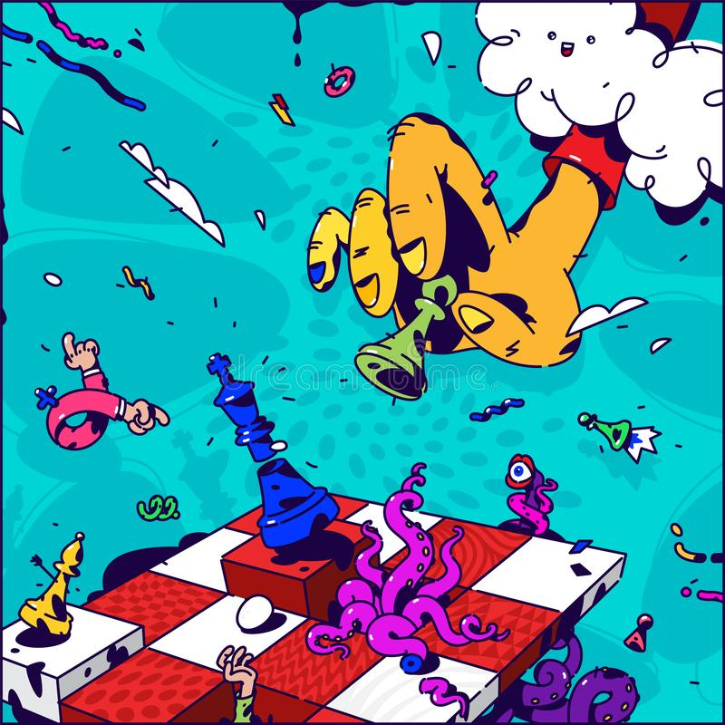 Ilustração psicadélico sobre a xadrez Vetor Mão com checkmate do penhor Imagem surrealista no assunto da gestão e ilustração royalty free