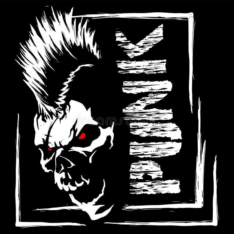 Ilustração punk do vetor do crânio imagem de stock