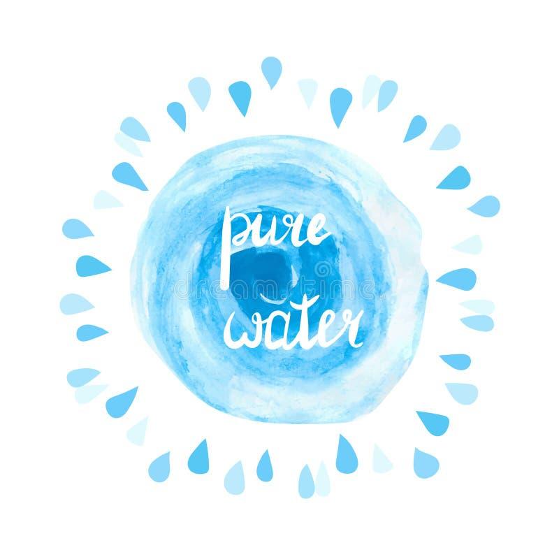Ilustração pura do vetor da água Respingo azul e gotas da aquarela no branco ilustração stock