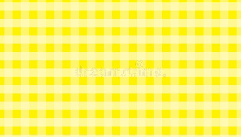 Ilustração quadriculado do vetor do fundo do guingão amarelo e branco da toalha de mesa Eps-10 imagem de stock royalty free