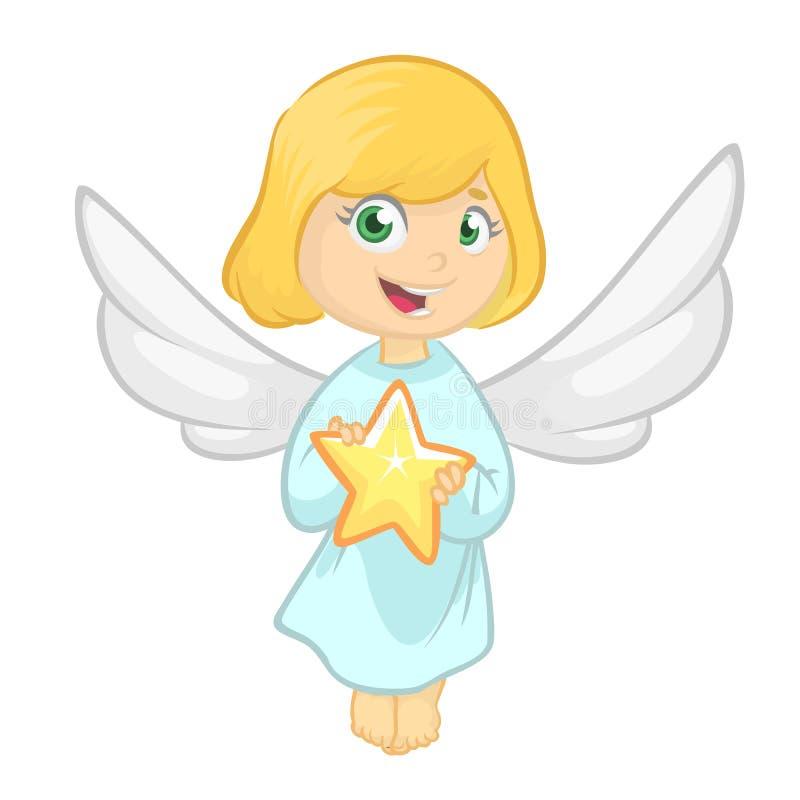 Ilustração que caracteriza uma menina vestida como um anjo Desenhos animados do vetor ilustração stock