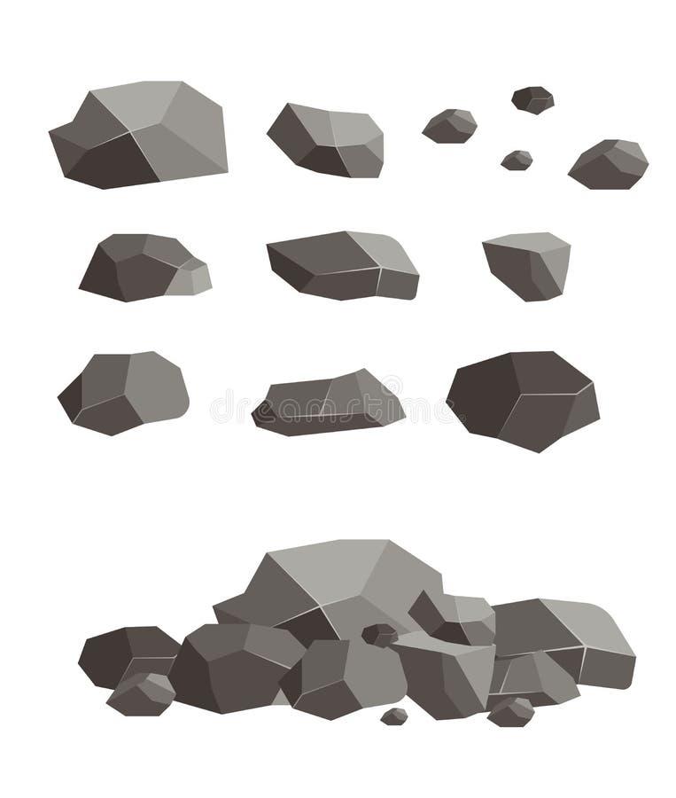 Ilustração quebrada do vetor da pedra do cimento da placa do bloco da pedra da rocha Arenito natural do material da lava do grani ilustração do vetor