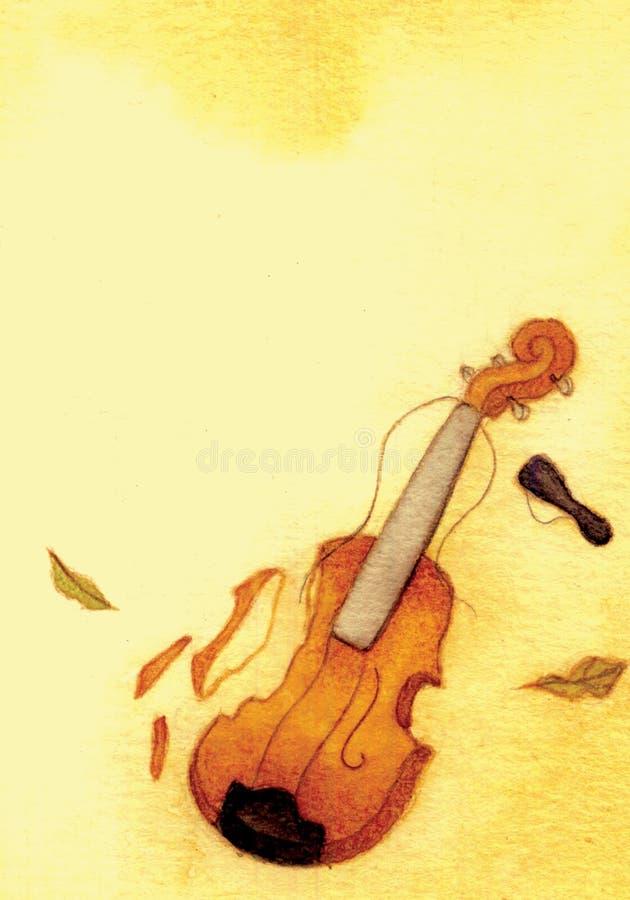 Ilustração quebrada vintage da aquarela do violino ilustração do vetor