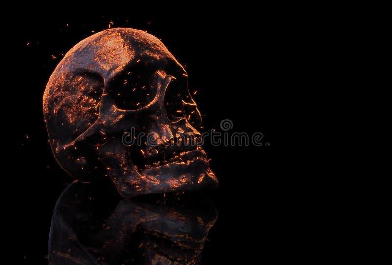 Ilustração queimada do crânio 3d ilustração do vetor