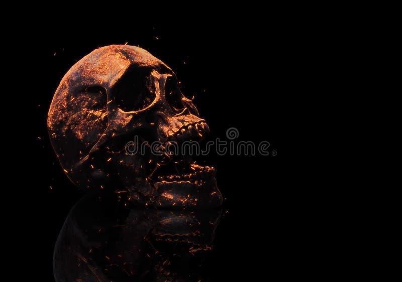 Ilustração queimada do crânio 3d ilustração stock