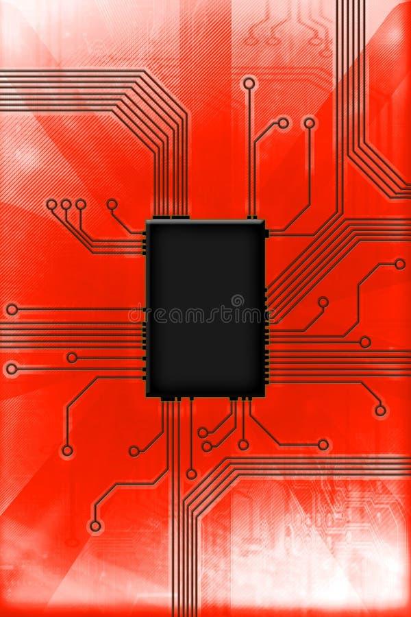 Ilustração quente da tecnologia de circuito da microplaqueta foto de stock royalty free