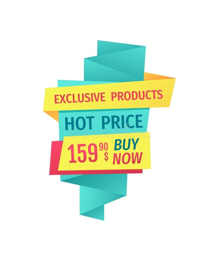 Ilustração quente do vetor do preço do produto exclusivo ilustração stock