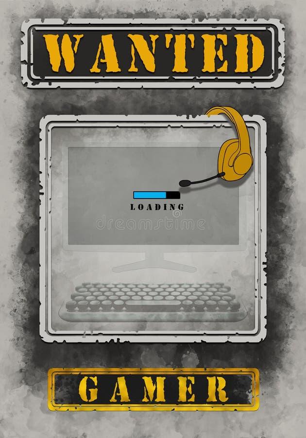 Ilustração querida do Gamer do cartaz ilustração royalty free