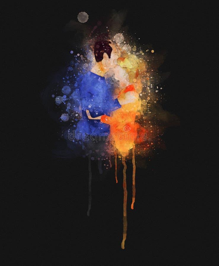 Ilustração ralo e espirrada da aquarela de um homem que beija seu sócio ilustração do vetor