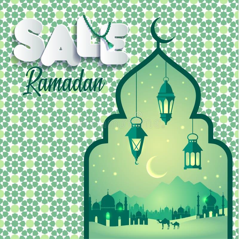 Ilustração Ramadan Sale do vetor Bandeira, disconto, etiqueta, venda, cartão, da celebração de Ramadan Kareem e de Eid Mubarak ilustração stock