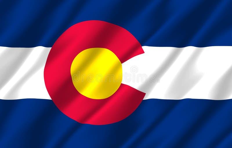Ilustração realística da bandeira de Colorado ilustração royalty free