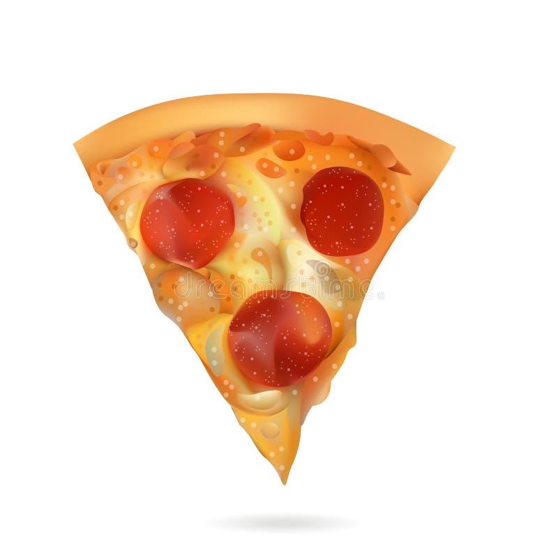 Ilustração realística da fatia da pizza do vetor Isolado no fundo branco ilustração do vetor