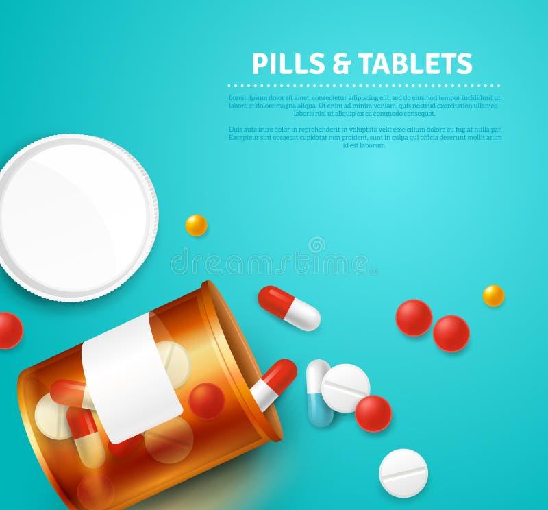 Ilustração realística da garrafa de comprimidos ilustração do vetor