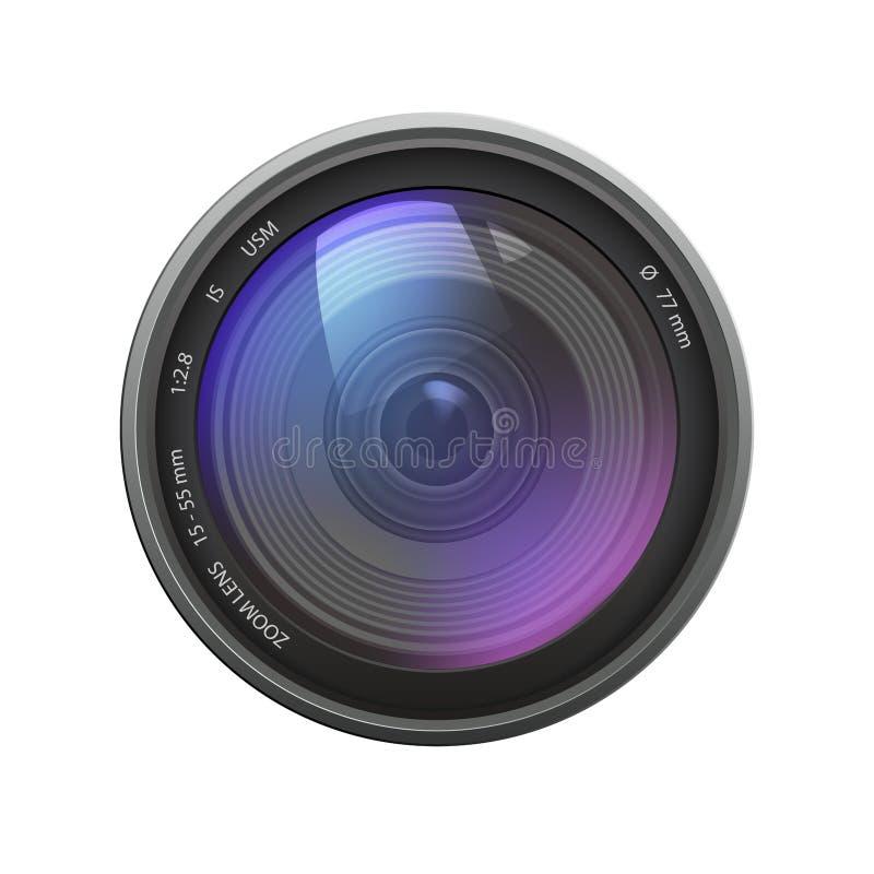 Ilustração realística da lente zoom da câmera com reflexão colorida ilustração stock
