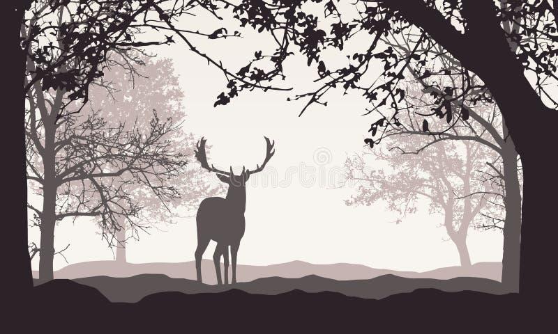 Ilustração realística da paisagem com floresta, árvores e montes, sob o céu retro da cor com espaço para o texto Cervos estando,  ilustração stock