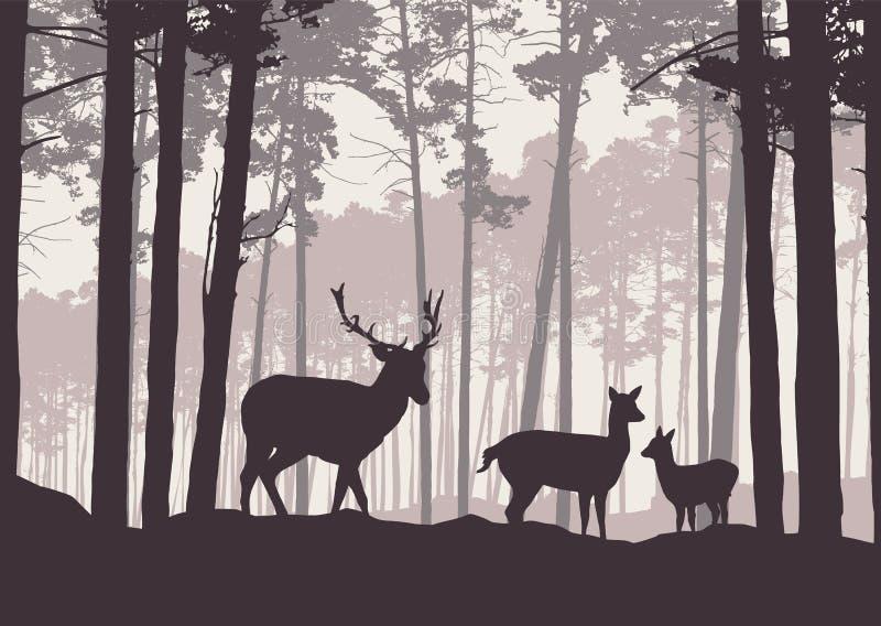 Ilustração realística da paisagem da montanha com a floresta conífera sob o céu com embaçamento Cervos, gama e posição pequena do ilustração royalty free