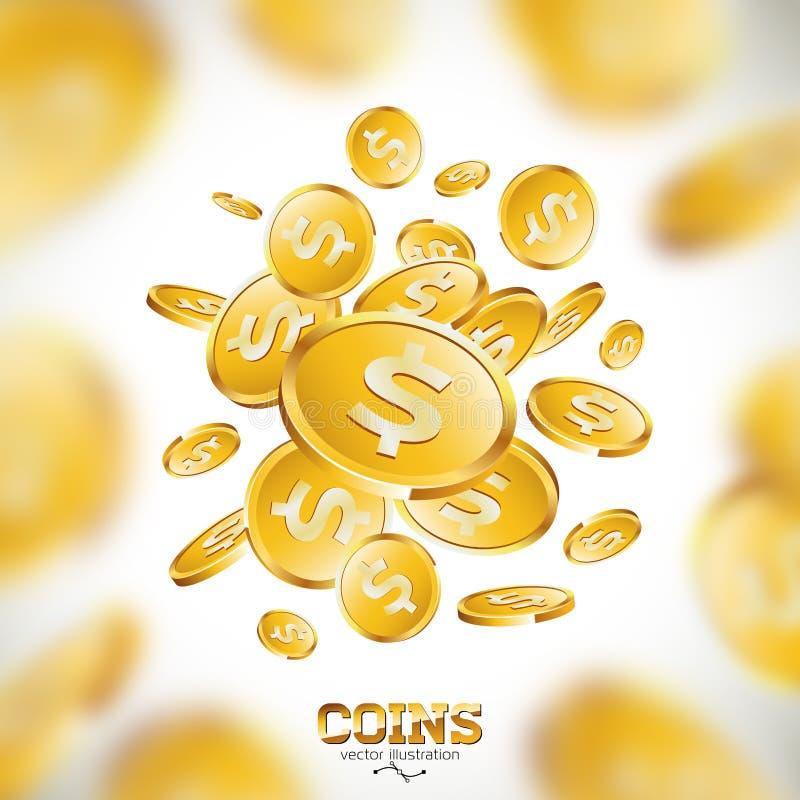Ilustração realística das moedas de ouro no fundo limpo moeda de queda com sinal de dólar Projeto de conceito do sucesso do vetor ilustração stock